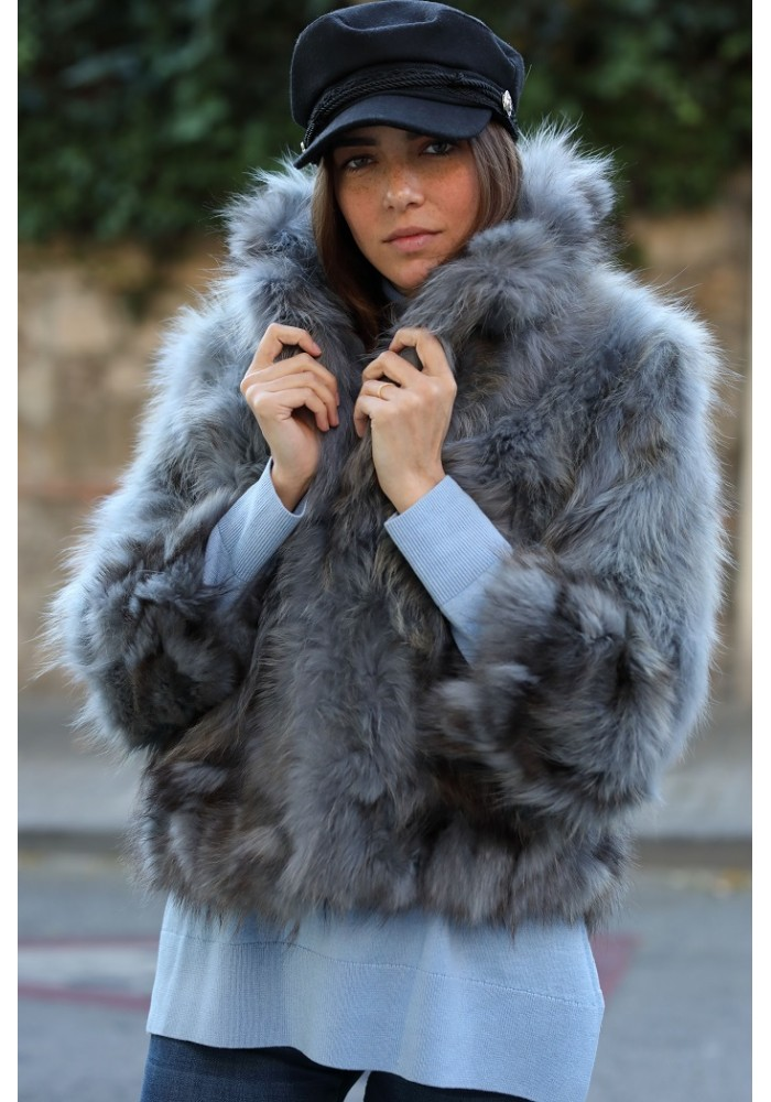 Fur jacket of raccoon Jane
