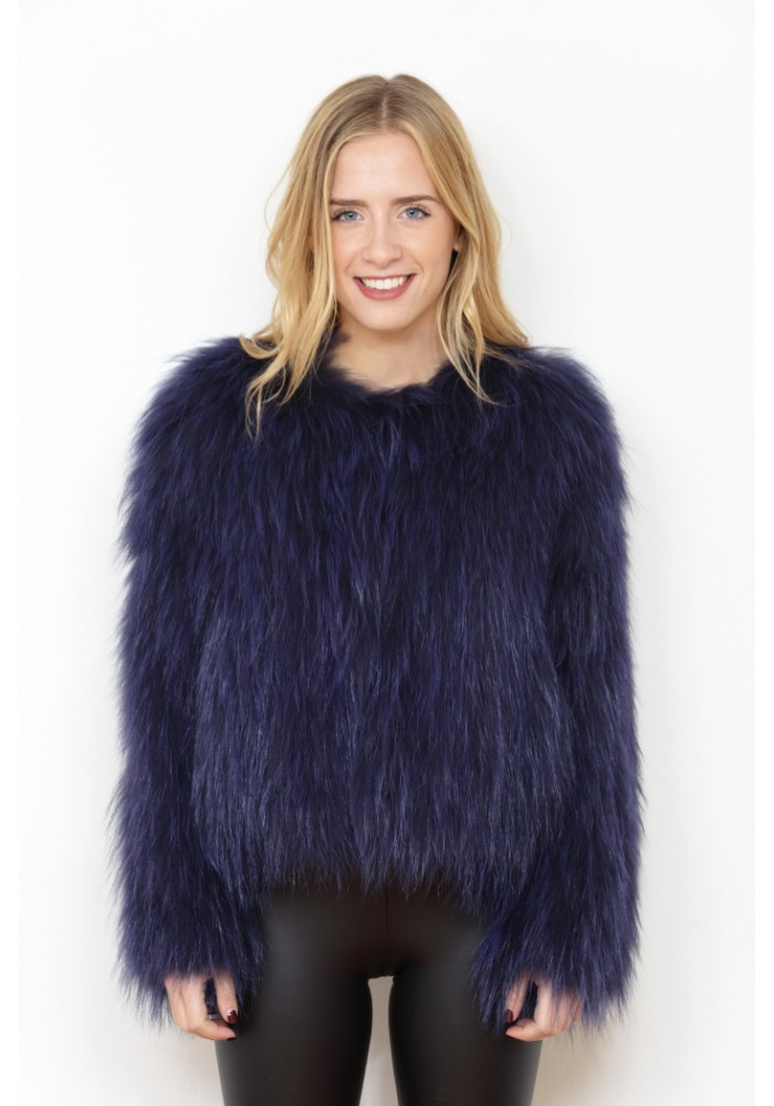 Fur jacket of knitted fox Alejandra