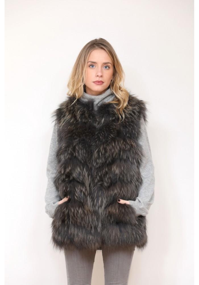 Fur vest of raccoon Amber