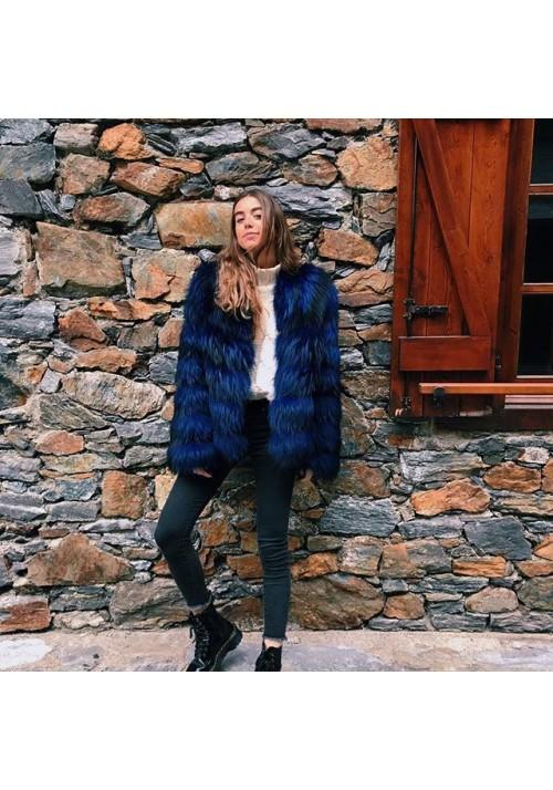 Fur jacket of raccoon Sun