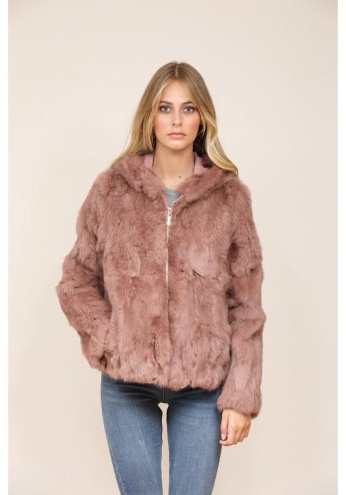 Fur jacket of rabbit Carla