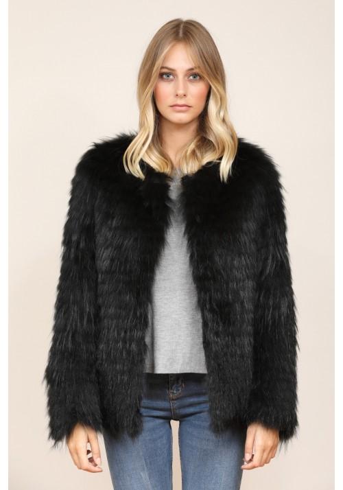 Fur jacket of raccoon Anya