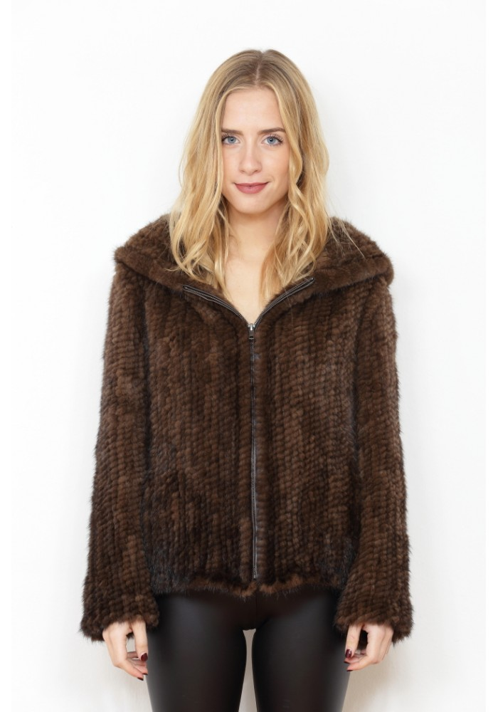 Fur jacket of knitted mink Kelly