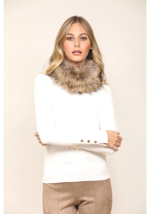 Fur elastic knitted unlined collar of fox Roma