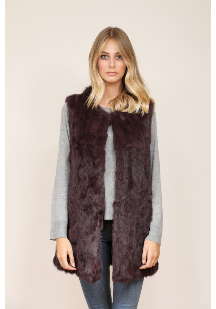 Fur long vest of rabbit Greta