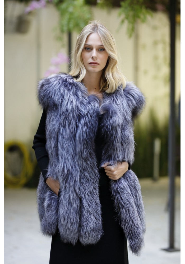 Fur vest of silver fox Sabine