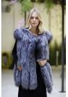 Fur vest of silver fox Sabine