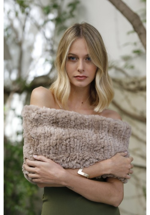 Fur knitted stole of rex Alba