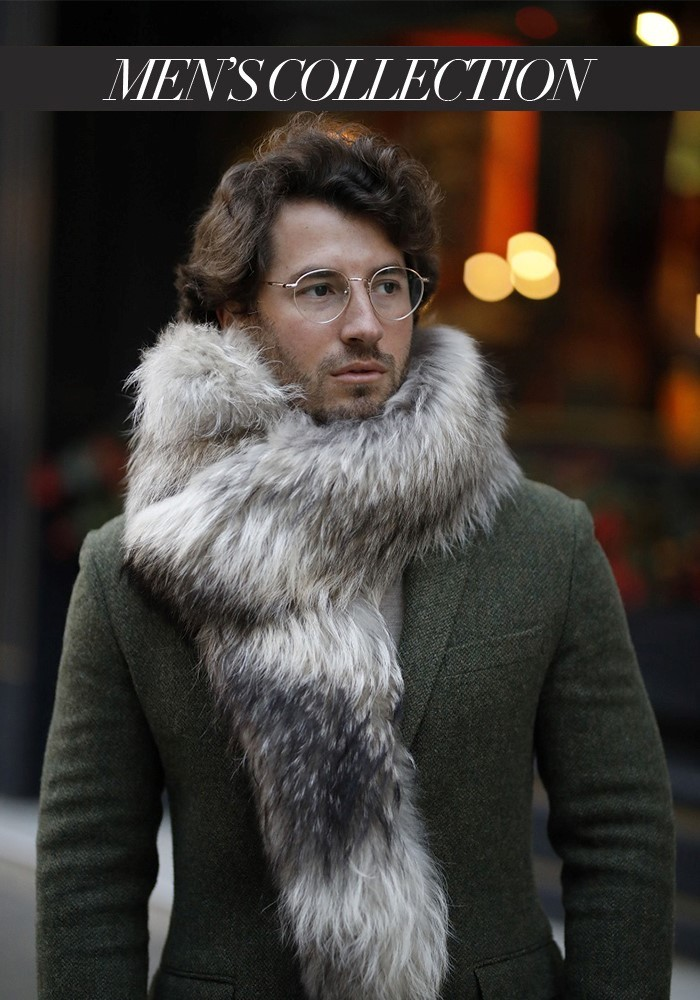 Fur stole of raccoon Stella Men's collection