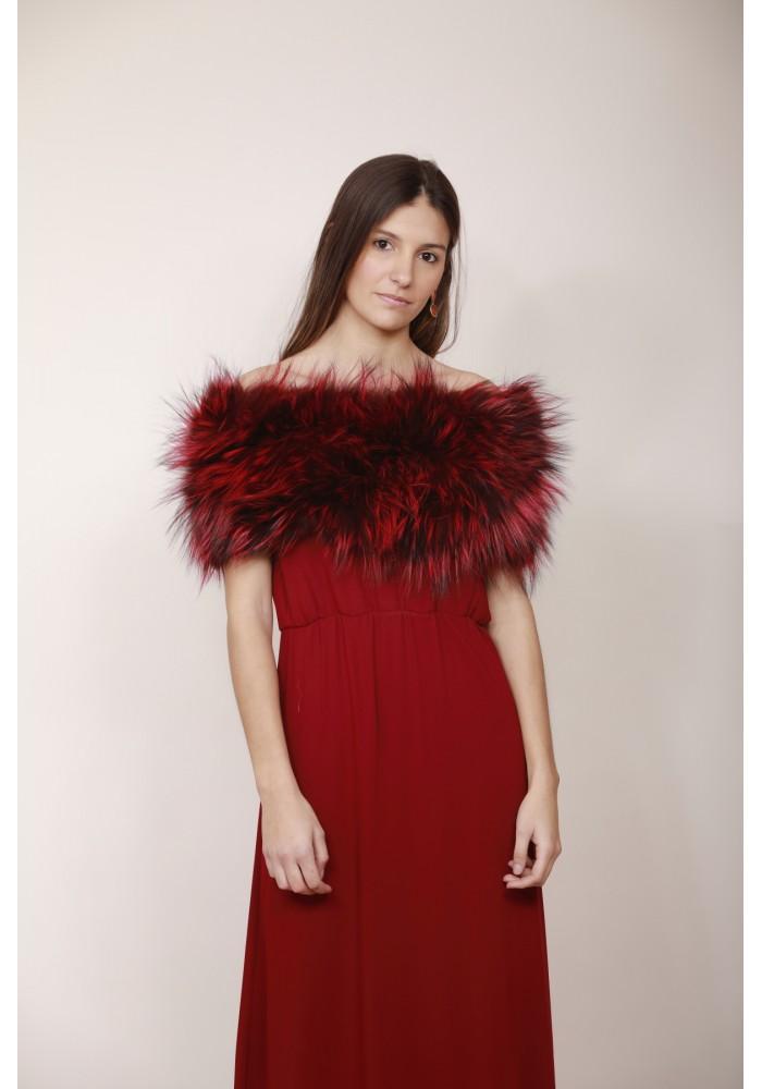 Fur elastic stole of raccoon Grace