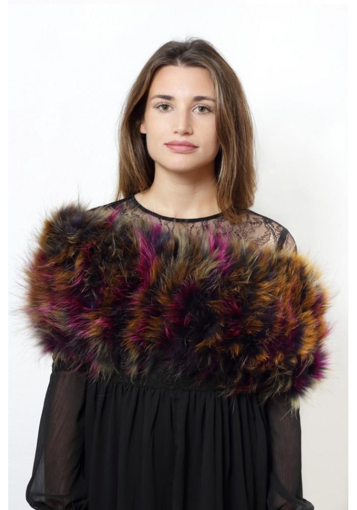 Fur elastic stole of raccoon Suki