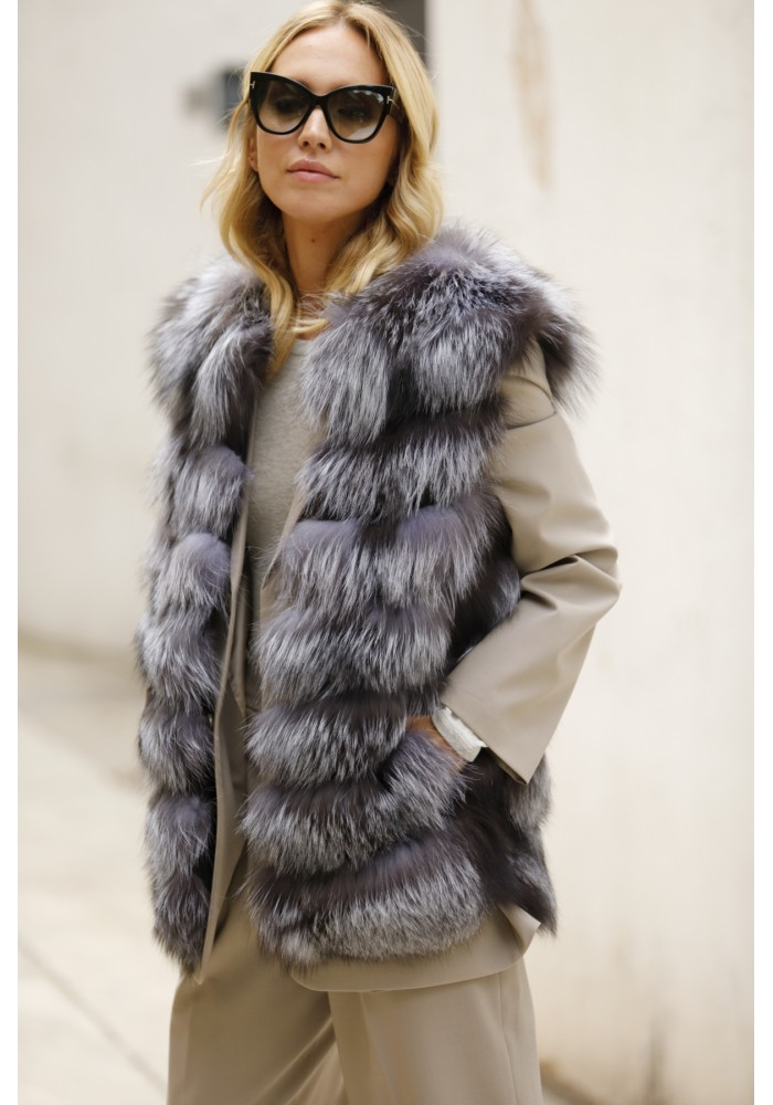 Fur vest of silver fox Fiona