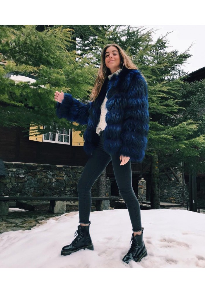 Fur jacket of raccoon Nuria
