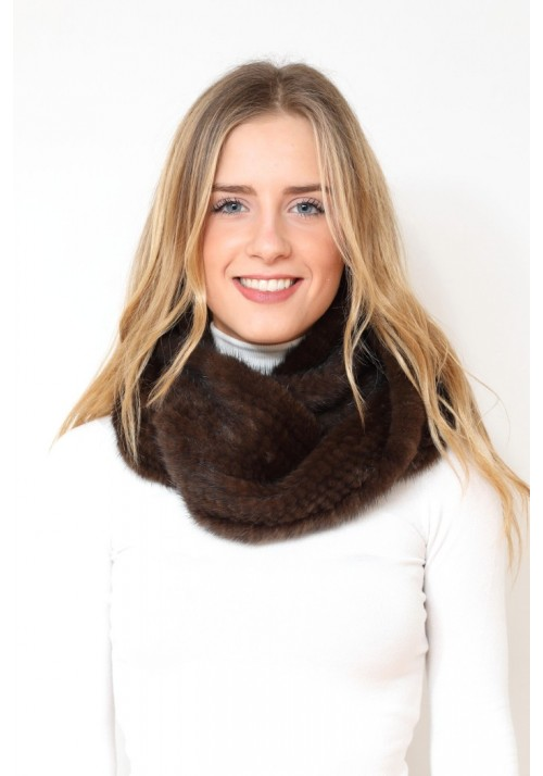 Fur collar of knitted mink Vivian