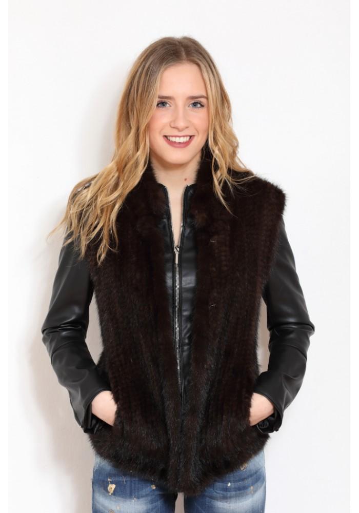 Fur vest of knitted mink Lola