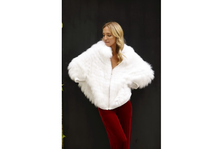 Winter of white fur jackets and vests